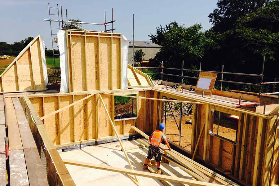 Skilled carpenters safely errect each building on site